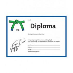 Accessories - Certificates - kopen - Judo Certificate Groen/blauwe Slip (per 25 Pieces)